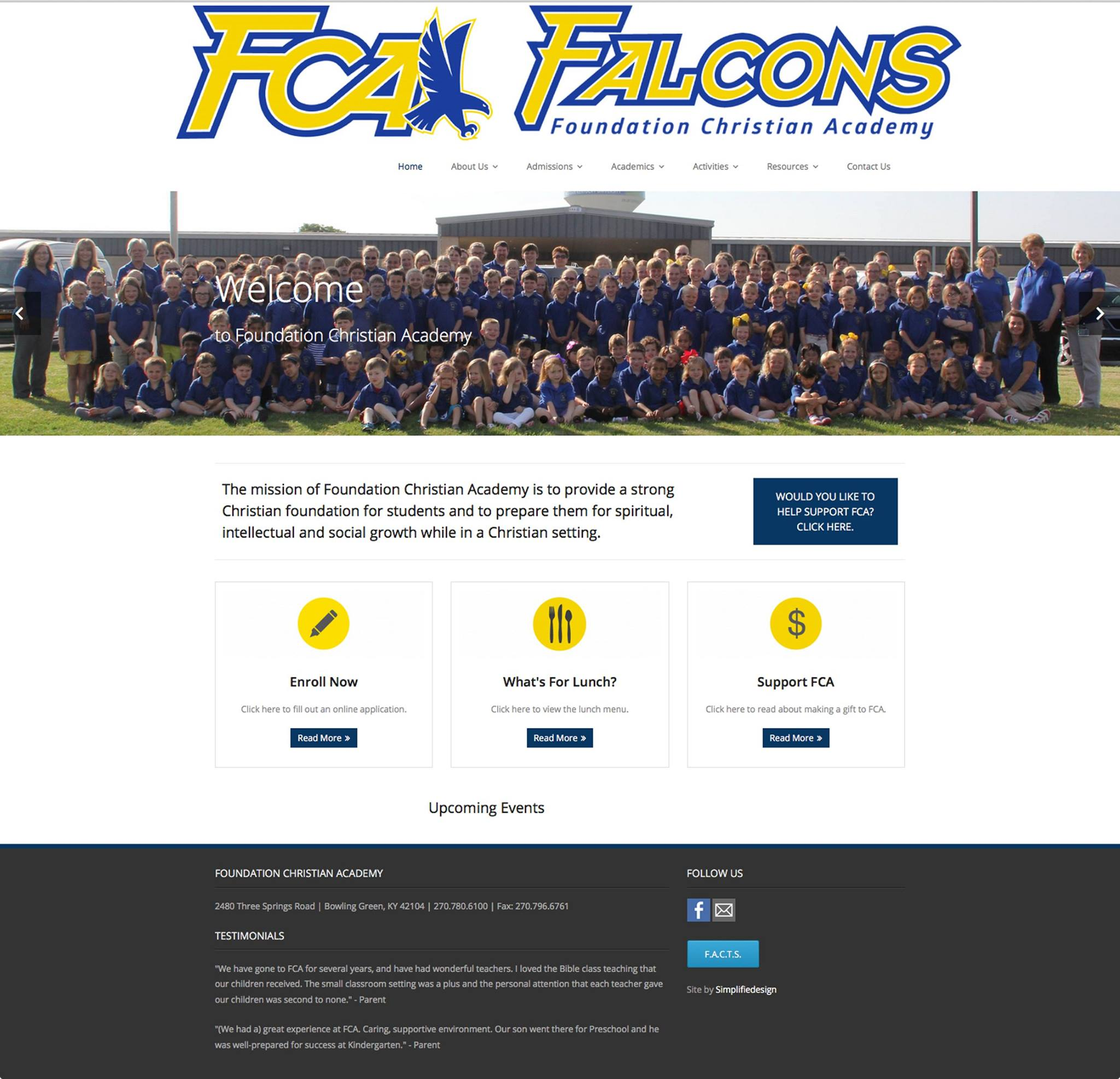 Website Redesign Client:  Foundation Christian Academy